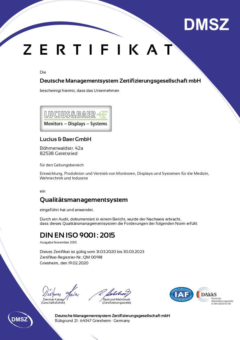 Lucius & Baer - DIN EN ISO 9001 2015 Zertifikat QM00918 in deutsch