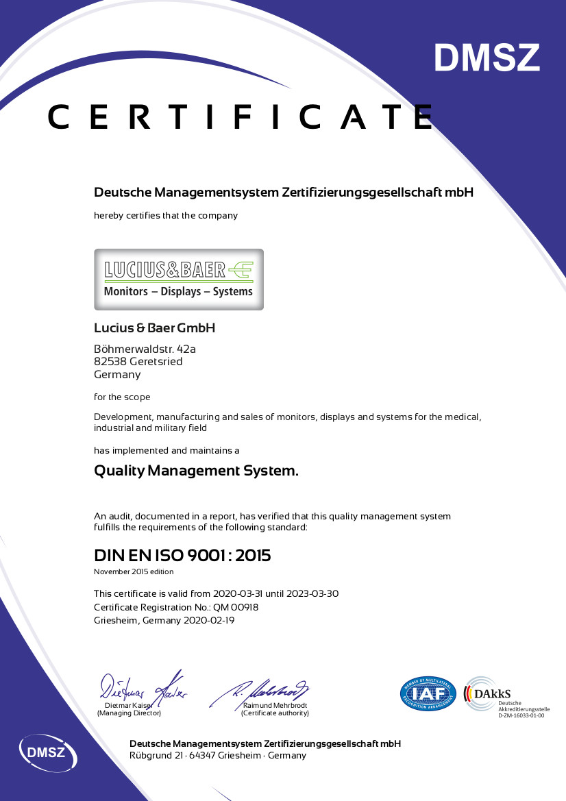 Lucius & Baer - DIN EN ISO 9001 2015 Certification QM00918 in english